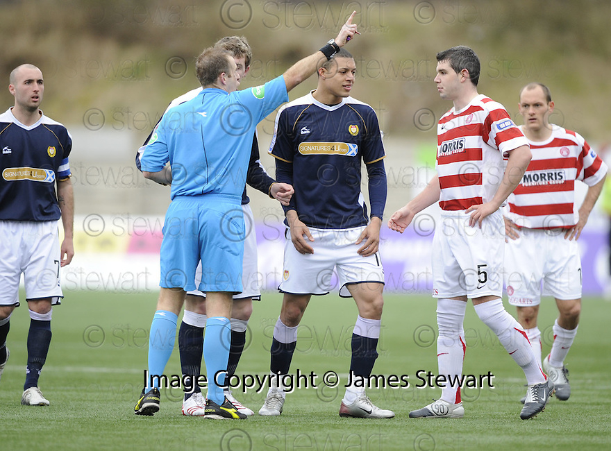 15/03/2008    Copyright Pic: James Stewart.File Name : sct_jspa05_hamilton_v_dundee.MICKAEL ANTOINE-C IS SENT OFF.James Stewart Photo Agency 19 Carronlea Drive, Falkirk. FK2 8DN      Vat Reg No. 607 6932 25.Studio      : +44 (0)1324 611191 .Mobile      : +44 (0)7721 416997.E-mail  :  jim@jspa.co.uk.If you require further information then contact Jim Stewart on any of the numbers above........