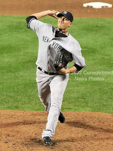 New York Yankees pitcher Freddy Garcia (36) works in the sixth inning against the Baltimore Orioles at Oriole Park at Camden Yards in Baltimore, Maryland on Monday, August 29, 2011.  The Yankees won the game 3 - 1..Credit: Ron Sachs / CNP.(RESTRICTION: NO New York or New Jersey Newspapers or newspapers within a 75 mile radius of New York City)