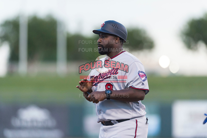 AFL East manager Tommy Watkins (8), of the Salt River Rafters and the Minnesota Twins organization, during the Arizona Fall League Fall Stars game at Surprise Stadium on November 3, 2018 in Surprise, Arizona. The AFL West defeated the AFL East 7-6 . (Zachary Lucy/Four Seam Images)