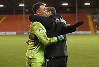 Blackpool's Myles Boney and Blackpool's Goal Keeper Coach Dave Timmins at the end of todays match<br /> <br /> Photographer Rachel Holborn/CameraSport<br /> <br /> The EFL Checkatrade Trophy Group C - Blackpool v Accrington Stanley - Tuesday 13th November 2018 - Bloomfield Road - Blackpool<br />  <br /> World Copyright © 2018 CameraSport. All rights reserved. 43 Linden Ave. Countesthorpe. Leicester. England. LE8 5PG - Tel: +44 (0) 116 277 4147 - admin@camerasport.com - www.camerasport.com