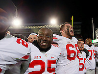 Ohio State Buckeyes offensive lineman Taylor Decker (68)gives out a yell before singing Carmen Ohio following their 49-37 win over Michigan State in the NCAA football game at Spartan Stadium in East Lansing, Michigan on Nov. 8, 2014. (Adam Cairns / The Columbus Dispatch)
