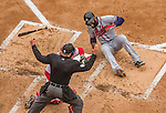 4 April 2014: Atlanta Braves right fielder Jason Heyward is hit by a Stephen Strasburg pitch in the third inning of the Washington Nationals Home Opening Game at Nationals Park in Washington, DC. The Braves edged out the Nationals 2-1 in their first meeting of the 2014 MLB season. Mandatory Credit: Ed Wolfstein Photo *** RAW (NEF) Image File Available ***