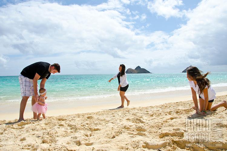Jason and Alyssa and there three lovely girls, Leilani, Ke'alohi and Emma on Lanikai beach, Oahu