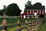 Red barn white shutters with split rail fence Colonial Williamsburg Virginia, Fine Art Photography by Ron Bennett, Fine Art, Fine Art photography, Art Photography, Copyright RonBennettPhotography.com ©