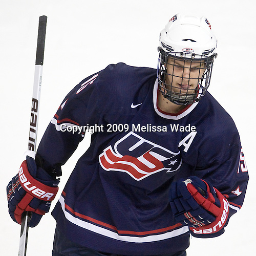 Jon Merrill (US - 15) - The Boston College Eagles defeated USA Hockey's National Team Development Program's Under 18 team 6-3 on Friday, October 9, 2009 at Conte Forum in Chestnut Hill, Massachusetts.