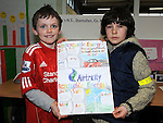 Antoine Leavy and Seán Kissane who won the Airtricity poster competition at the Stamullen Green Energy day at St Patrick's GAA club. Photo: Colin Bell/pressphotos.ie