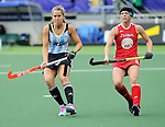 The Hague, Netherlands, June 14: Daniela Sruoga #18 of Argentina and Julia Reinprecht #12 of USA look on during the field hockey bronze medal match (Women) between USA and Argentina on June 14, 2014 during the World Cup 2014 at Kyocera Stadium in The Hague, Netherlands. Final score 2-1 (2-1)  (Photo by Dirk Markgraf / www.265-images.com) *** Local caption ***