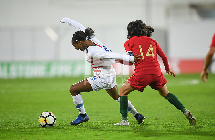 Estoril, Portugal - Thursday November 8, 2018: The women's national teams of the United States (USA) and Portugal (POR) play in an international friendly game at  Estadio António Coimbra da Mota.