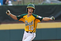 WILLIAMSPORT, PA - AUGUST 25. Hance Smith #10 of the West team from Petaluma, California celebrates his game tying home run in the bottom of the sixth inning against the South East team from Goodlettsville, Tennesse during the United States Championship game of the Little League World Series at Lamade Stadium on Saturday, August 25, 2012 in Williamsport, PA. (Photo by Hunter Martin/MLB Photos via Getty Images) ***Local Caption*** Hance Smith