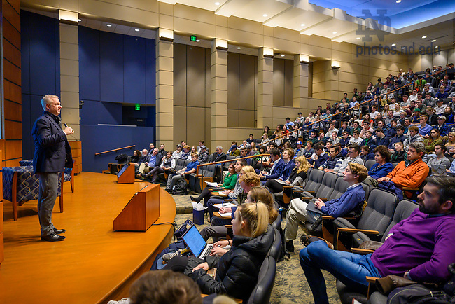 "January 28, 2020; Scott Dahnke delivers his presentation ""Driving Real Alpha in Private Equity"" in the Jordan Auditorium of Mendoza College of Business.  (Photo by Barbara Johnston/University of Notre Dame)"