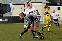 Demi Lambourne  of Oxford United Ladies and Chloe Crook of Tottenham Ladies during Tottenham Hotspur Ladies vs Oxford United Women, FA Women's Super League FA WSL2 Football at Theobalds Lane on 11th February 2018