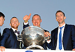27-9-2014:  Kerry players David Moran, Barry John Keane,  Kieran Donaghy and Marc O'Se pictured at the Kerry team homecoming in Tralee last evening.<br /> Picture by Don MacMonagle