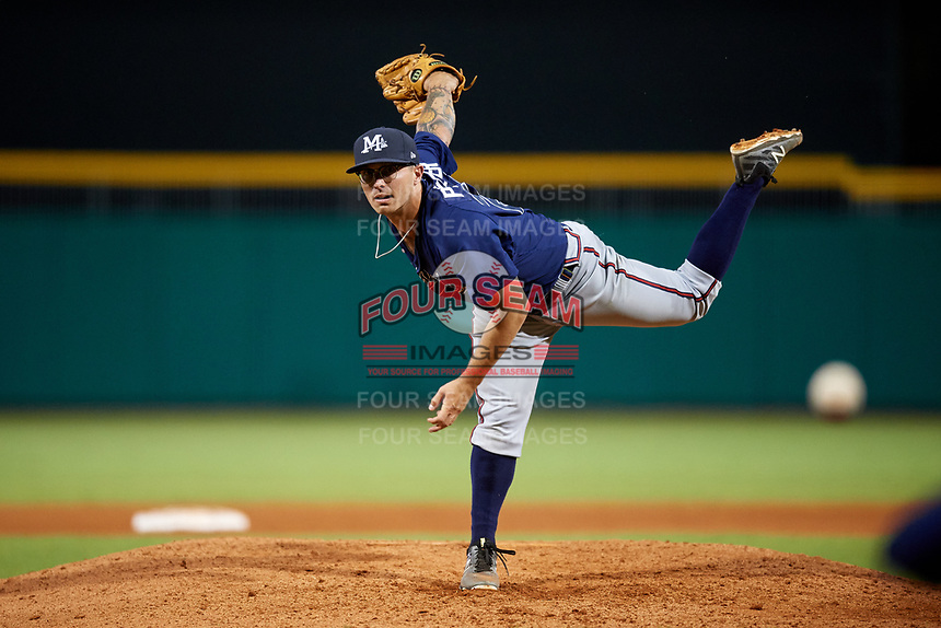 Mississippi Braves relief pitcher Philip Pfeifer (25) delivers a pitch during a game against the Montgomery Biscuits on April 24, 2017 at Montgomery Riverwalk Stadium in Montgomery, Alabama.  Montgomery defeated Mississippi 3-2.  (Mike Janes/Four Seam Images)