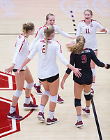 STANFORD, CA - November 4, 2018: Jenna Gray,Kate Formico,Morgan Hentz, Kathryn Plummer, Holly Campbell at Maples Pavilion. No. 2 Stanford Cardinal defeated the Utah Utes 3-0.