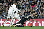 Real Madrid's Raphael Varane, Carlos Henrique Casemiro (C) and AFC Ajax's Dusan Tadic during a UEFA Champions League match. Round of 16. Second leg. March, 5,2019. (ALTERPHOTOS/Alconada)