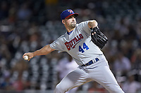 Buffalo Bison relief pitcher Taylor Guerrieri (44) in action against the Charlotte Knights at BB&T BallPark on August 14, 2018 in Charlotte, North Carolina. The Bison defeated the Knights 14-5.  (Brian Westerholt/Four Seam Images)