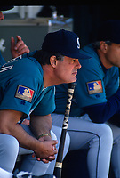 OAKLAND, CA:  Manager Lou Piniella of the Seattle Mariners sits in the dugout during a game against the Oakland Athletics at the Oakland Coliseum in Oakland, California on May 25, 1994. (Photo by Brad Mangin)