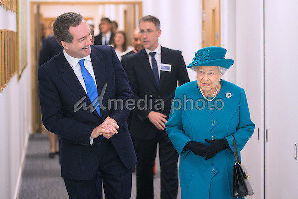 14 February 2017 - London, England - Queen Elizabeth II with Director of GCHQ Robert Hannigan during a visit to officially open the National Cyber Security Centre (NCSC) in London. Photo Credit: ALPR/AdMedia