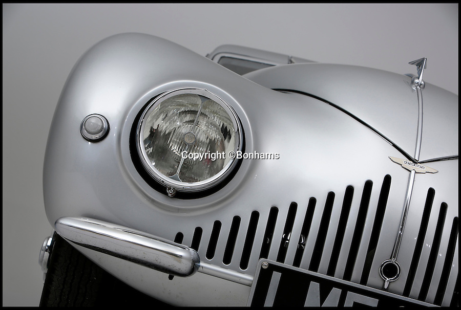BNPS.co.uk (01202 558833)<br /> Pic: Bonhams/BNPS<br /> <br /> ***Please use full byline***<br /> <br /> A one-of-a-kind concept car made by famous British brand Aston Martin during World War II is expected to fetch a whopping £1 million  when it goes under the hammer in a Bonhams auction at Goodwood Festival of Speed on June 27. .<br /> <br /> The stunning Aston Martin Atom is regarded as one of the most important cars in the history of British motoring.<br /> <br /> The 74-year-old motor is considered to be Britain's first ever concept car, showcasing a design and engineering that was way ahead of its time.<br /> <br /> It was unveiled in 1940 when the country was in the thick of war, launching just six weeks after the infamous evacuation of Dunkirk.<br /> <br /> The futuristic car was one of only 750 private cars registered in the UK that year at a time when any spare metal was being melted down to fuel the war effort.<br /> <br /> It has been put up for sale by classic car collector Tom Rollason who previously displayed it at the Heritage Motor Centre in Gaydon, Warks.