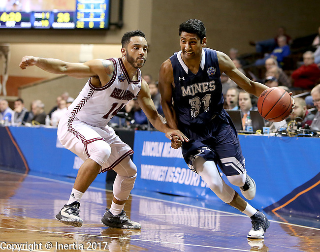 SIOUX FALLS, SD: MARCH 22: Gokul Natesan #31 from Colorado Mines drives past Tyler Jenkins #14 from Bellarmine during the Men's Division II Basketball Championship Tournament on March 22, 2017 at the Sanford Pentagon in Sioux Falls, SD. (Photo by Dave Eggen/Inertia)