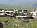 Armenia 2007 <br /> View from the graveyard on a Yezidi village   <br /> Armenie 2007  <br /> Vue du cimetiere sur un village yezidi