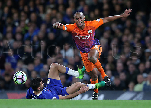 April 5th 2017, Stamford Bridge, Chelsea, London England; EPL Premier League football, Chelsea versus Manchester City; Diego Costa of Chelsea fouls Vincent Kompany of Manchester City