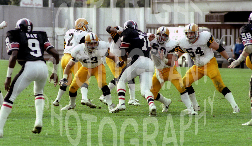 Jeff Arp Henry Waszchuk Ross Francis Hamilton Tiger Cats 1983. Photo F. Scott Grant