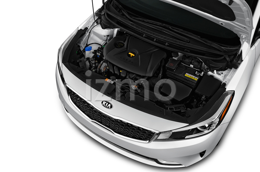 Car Stock 2018 KIA Forte EX-AT 4 Door Sedan Engine  high angle detail view