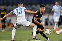 Francesco Vicari of SPAL and Lautaro Martinez of FC Internazionale compete for the ball during the Serie A football match between SPAL and Internazionale FC at Paolo Mazza stadium in Ferrara ( Italy ), July 16th, 2020. Play resumes behind closed doors following the outbreak of the coronavirus disease. Photo Andrea Staccioli / Insidefoto