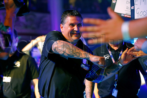 23.07.2016. Empress Ballroom, Blackpool, England. BetVictor World Matchplay Darts. Gary Anderson walks into the arena and meets the supporters before entering the stage