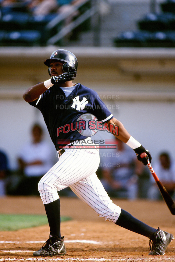 Marcus Thames of the New York Yankees organization plays in a California Fall League game at The Epicenter circa October 1999 in Rancho Cucamonga, California. (Larry Goren/Four Seam Images)