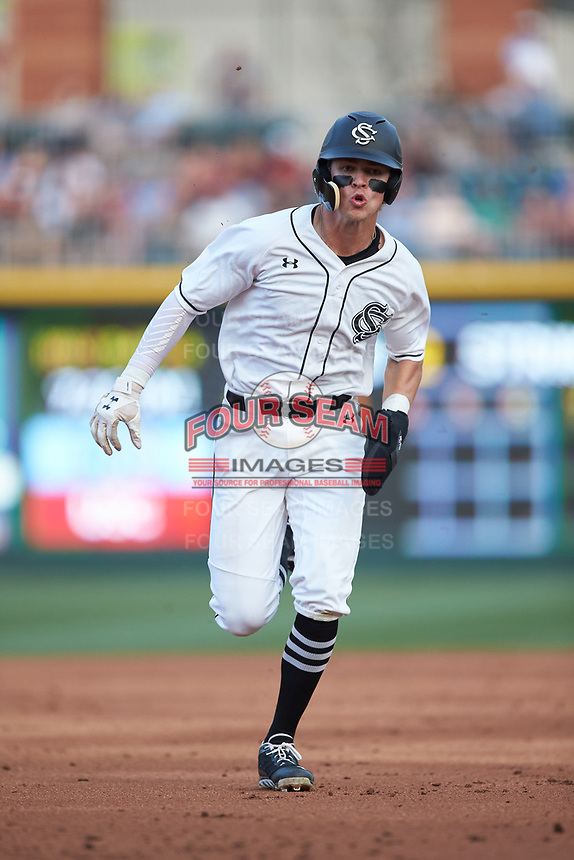 L.T. Tolbert (11) of the South Carolina Gamecocks hustles towards third base against the North Carolina Tar Heels at BB&T BallPark on April 3, 2018 in Charlotte, North Carolina. The Tar Heels defeated the Gamecocks 11-3. (Brian Westerholt/Four Seam Images)