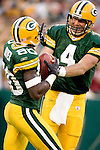 Green Bay Packers quarterback Brett Favre (4) celebrates a touchdown with wide receiver Donald Driver (80) during an NFL football game against the Dallas Cowboys on October 24, 2004 at Lambeau Field in Green Bay, Wisconsin. The Packers beat the Cowboys 41-20. (Photo by David Stluka)