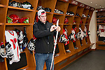 Wisconsin Badgers hockey player tapes up his stick in the new locker room on move-in day at the LaBahn Arena Monday, October 1, 2012 in Madison, Wisc. (Photo by David Stluka)