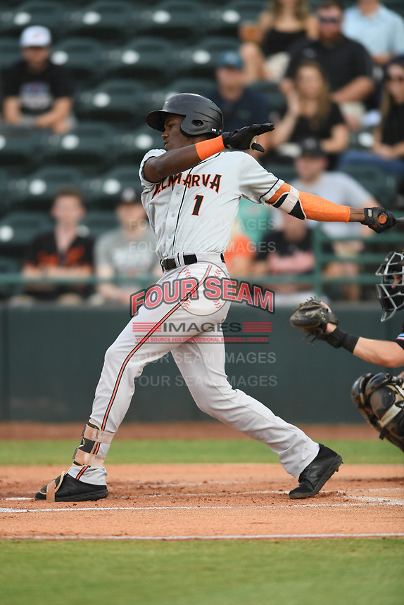 J.C. Encarnacion (1) of the Delmarva Shorebirds follows through on his swing during game one of the Northern Division, South Atlantic League Playoffs against the Hickory Crawdads at L.P. Frans Stadium on September 4, 2019 in Hickory, North Carolina. The Crawdads defeated the Shorebirds 4-3 to take a 1-0 lead in the series. (Tracy Proffitt/Four Seam Images)