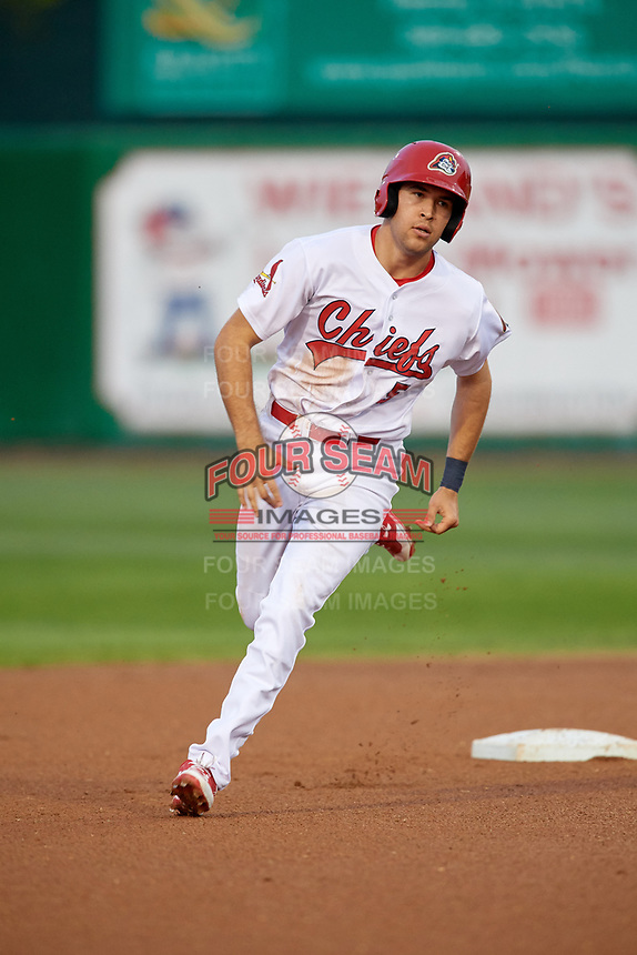 Peoria Chiefs left fielder Dylan Carlson (5) runs the bases during a game against the West Michigan Whitecaps on May 9, 2017 at Dozer Park in Peoria, Illinois.  Peoria defeated West Michigan 3-1.  (Mike Janes/Four Seam Images)