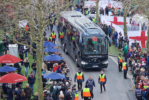 27.02.2016. Twickenham, London, England. RBS Six Nations Championships. England versus Ireland. The England team bus arrives at Twickenham.