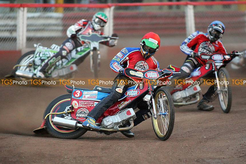 Heat 3 - Kasprzak (red), Hefenbrock, Screen - Lakeside Hammers vs Belle Vue Aces - Elite League Knockout Cup, 1st Round 2nd Leg at Arena Essex - 04/05/07 - MANDATORY CREDIT: Gavin Ellis/TGSPHOTO - IMAGES USED WILL BE INVOICED AT STANDARD RATES..