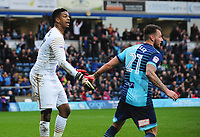 Wycombe Wanderers' Jamal Blackman is congratulated by with team-mate Max Muller after saving Blackpool's Brad Potts' penalty<br /> <br /> Photographer Kevin Barnes/CameraSport<br /> <br /> The EFL Sky Bet League Two - Wycombe Wanderers v Blackpool - Saturday 11th March 2017 - Adams Park - Wycombe<br /> <br /> World Copyright &copy; 2017 CameraSport. All rights reserved. 43 Linden Ave. Countesthorpe. Leicester. England. LE8 5PG - Tel: +44 (0) 116 277 4147 - admin@camerasport.com - www.camerasport.com
