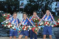 FIERLJEPPEN: IT HEIDENSKIP: Accommodatie It Swaeigat, Fierljepvereniging It Heidenskip, 28-07-2012, NFM (Nationale Fierljep Manifestatie), Winnaars, Tom Hoekstra (Jongens), Klaske Nauta (Dames), Wilco van Amerongen (Junioren), Bart Helmholt (Senioren), ©foto Martin de Jong
