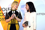 """April 21, 2016, Tokyo, Japan - Australian actress Cate Blanchett (L) smiles with Japanese actress Yoshino Kimura during a photo call for the reception of Louis Vuitton's art exhibition in Tokyo on Thursday, April 21, 2016. French luxury barnd Luis Vuitton will hold the exhibition """"Volez, Voguez, Voyagez"""" in Tokyo from April 23 through June 19.  (Photo by Yoshio Tsunoda/AFLO) LWX -ytd-"""