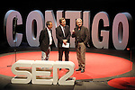 "The spanish journalist Inaki Gabilondo(c)  with the film director Jose Luis Garci (l) and the actor Jose Sacristan during the Gala ""Contigo"" in celebration of the 90th anniversary of Radio Madrid Cadena SER. June 2, 2015. (ALTERPHOTOS/Acero)"