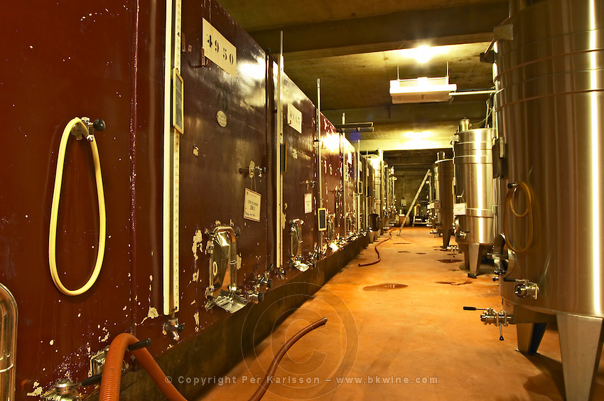 Painted steel fermentation vats and stainless steel.  Domaine M Chapoutier, Tain l'Hermitage, Drome Drôme, France Europe