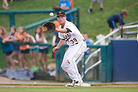 Frederick Keys first baseman Cameron Kneeland (39) waits for a throw during a game against the Carolina Mudcats on June 4, 2016 at Nymeo Field at Harry Grove Stadium in Frederick, Maryland.  Frederick defeated Carolina 5-4 in eleven innings.  (Mike Janes/Four Seam Images)