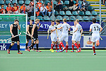 The Hague, Netherlands, June 08: Christopher Zeller #19 of Germany celebrates with teammates after scoring 1-3 in extra time of first half during the field hockey group match (Men - Group B) between the Black Sticks of New Zealand and Germany on June 8, 2014 during the World Cup 2014 at Kyocera Stadium in The Hague, Netherlands.  Final score 3-5 (1-3) (Photo by Dirk Markgraf / www.265-images.com) *** Local caption ***