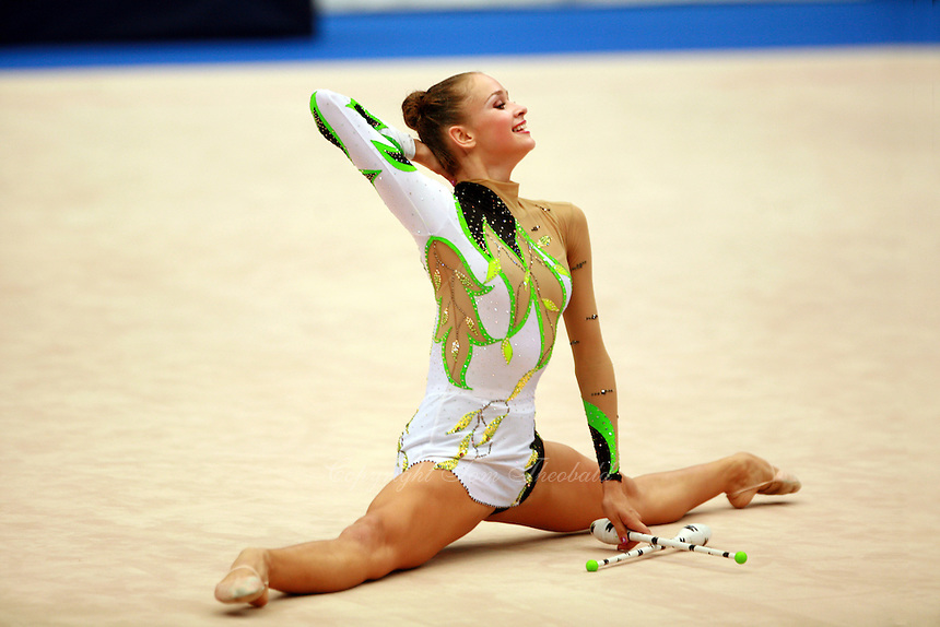 Marina Shpekt of Russia holds finishing pose to clubs routine at 2006 Portimao World Cup of Rhythmic Gymnastics on September 9, 2006.  (Photo by Tom Theobald)