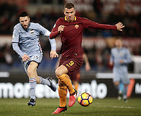 Calcio, ottavi di finale di Tim Cup: Roma vs Sampdoria. Roma, stadio Olimpico, 19 gennaio 2017.<br /> Roma&rsquo;s Edin Dzeko in action during the Italian Cup round of 16 football match between Roma and Sampdoria at Rome's Olympic stadium, 19 January 2017.<br /> UPDATE IMAGES PRESS/Isabella Bonotto