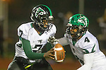 Torrance, CA 11/22/13 - Nathaniel Myles (Palmdale #7) and Demarlo Richard (Palmdale #4) in action during the Palmdale-West Torrance CIF Northern Division quarterfinal game.  West Torrance defeated Palmdale 17-14.