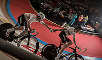 Madison World Champions Mark Cavendish (GBR/Dimension Data) &amp; Sir Bradley Wiggins (GBR/Wiggins) handslingin'<br /> <br /> 2016 Gent 6<br /> day 2