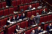 Roma, 13 Febbraio 2015<br /> Camera dei Deputati<br /> Voto degli emendamenti sulla riforma della costituzione.<br /> Gli scranni di Forza Italia con Gelmini, Mara Carfagna e Renato Brunetta